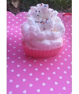 raspberry n' cream valentine cupcake soap, valentines day, gifts, beauty, - $5.00