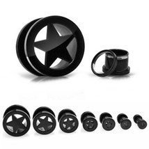 "PAIR-Star Cutout Black Titanium IP Screw On Ear Tunnels 19mm/3/4"" Gauge ... - $14.99"