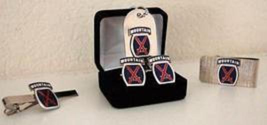 Primary image for US Army 10th Mountain Division Cuff Link , Tie Clip , Money Clip and Dog Tag Set