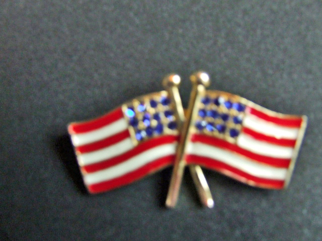 Double Flag pin with blue stones