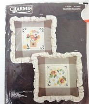 Charmin Counted Cross-Stitch Summer Flowers Pillow Kit NEW 00-94 Janlynn... - $31.85