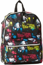Hello Kitty Chicas Negro Neón Amarillo Azul Rosa Grafiti Spray Paint Mochila Nwt