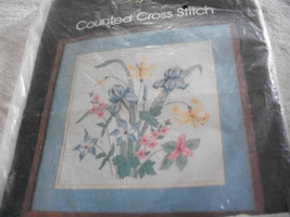 Iris floral Picture Counted Cross Stitch Kit: Comes with Floss, Fabric & Directi - $24.00