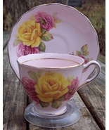 Ridgway Colclough Red & Yellow Roses Pink Bone China Cup & Saucer Duo - $15.99