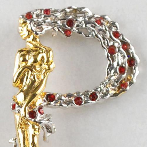 ERTE P made of Gold-Plated Sterling Silver, with Hand-Set Swarovski Crystals!