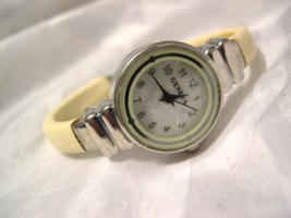 """L08, Geneva, Ladies Mother Of Pearl Faced Cuff Watch, 2.25"""" inner dia. - $9.99"""