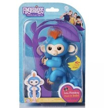Authentic Fingerlings BORIS Interactive Baby Monkey By WowWee Blue With Pink - $19.60