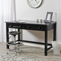 Small Writing Desk Black Wood Table Home Office Living Room Den Furnitur... - $471.40