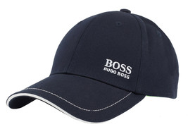 Hugo Boss Men's Cotton Twill Adjustable Sport Embroidered Logo Hat Cap (Navy)