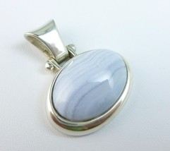 Sterling Blue Lace Agate Oval East-West Slide Pendant - $65.00