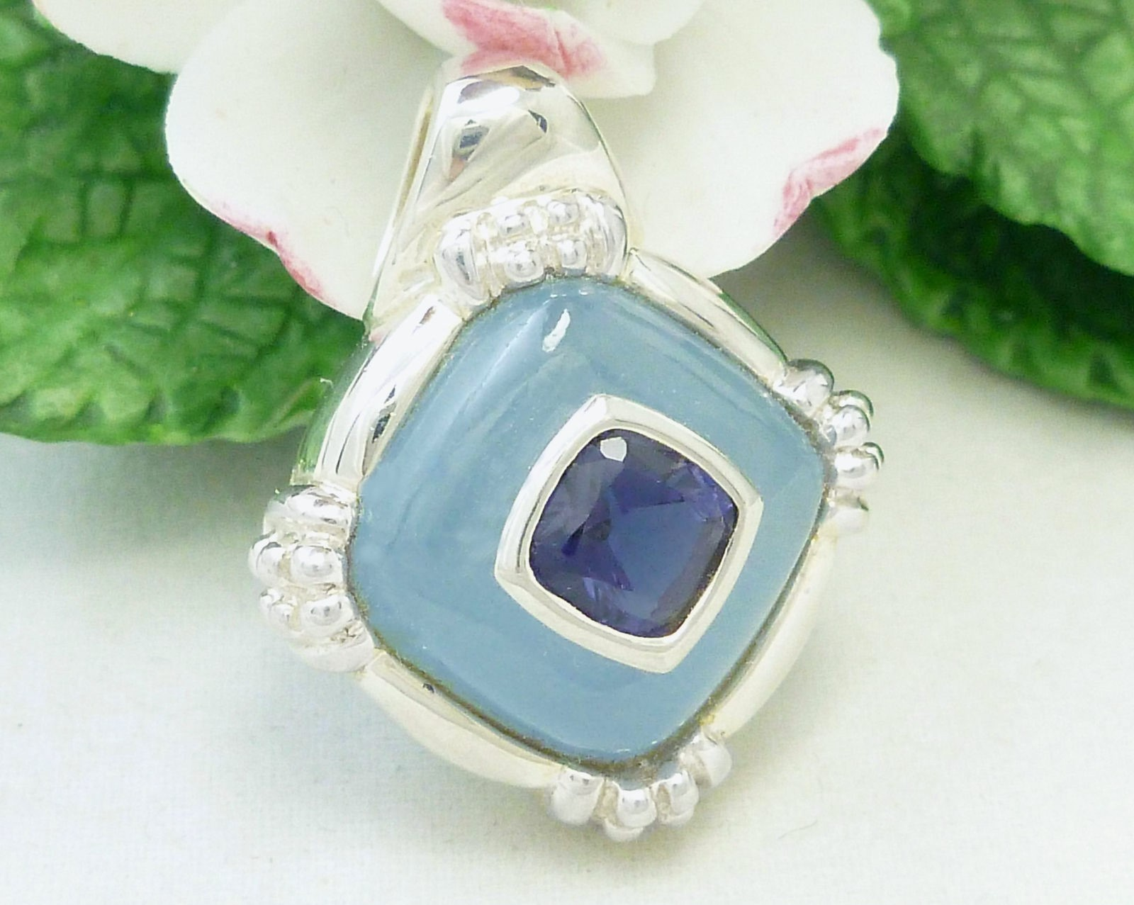 Primary image for Sterling Blue Jade Iolite Gemstone Square Shaped Pendant Fine Jewelry