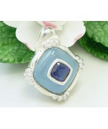 Sterling Blue Jade Iolite Gemstone Square Shaped Pendant Fine Jewelry - $69.00