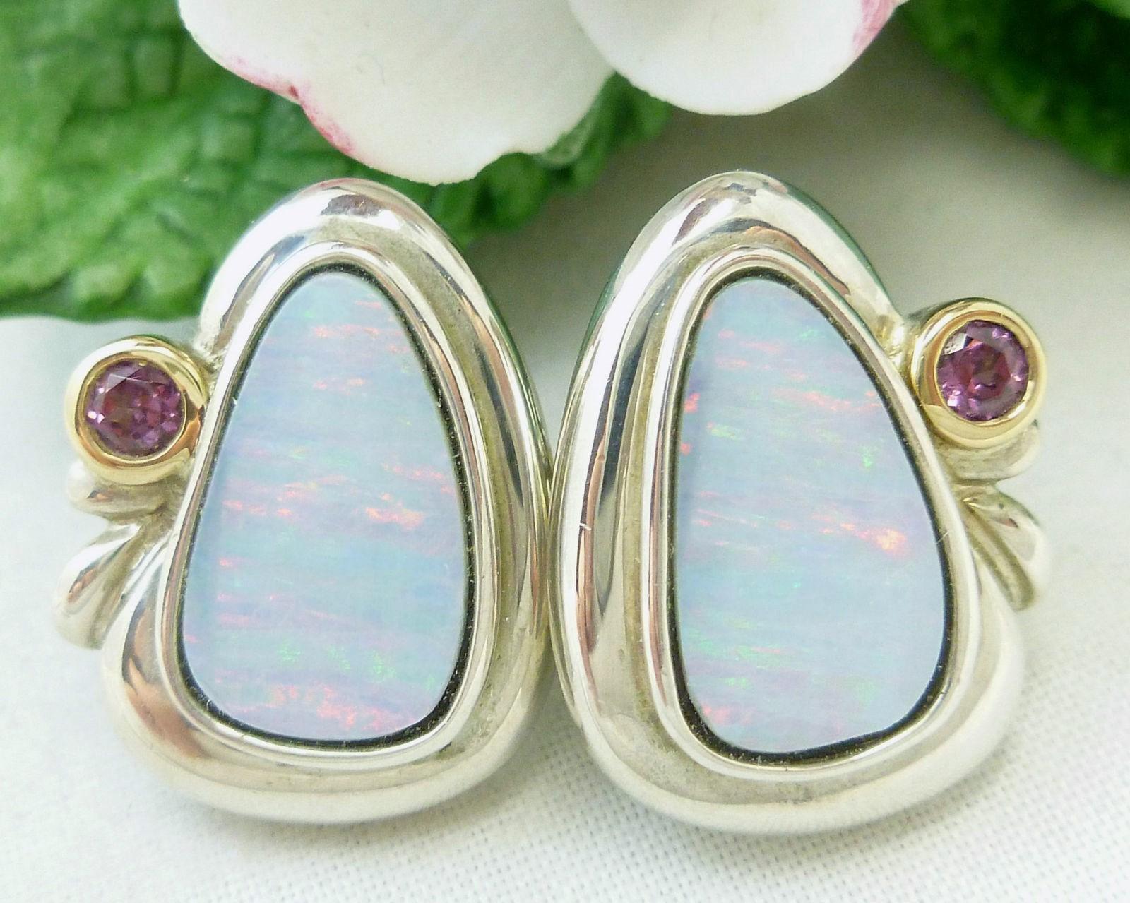 Sterling Australian Opal Earrings with Plum Garnet 14K bezel Frame - $135.00
