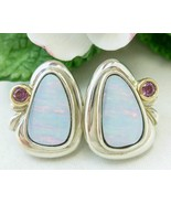 Sterling Australian Opal Earrings with Plum Garnet 14K bezel Frame - $82.00
