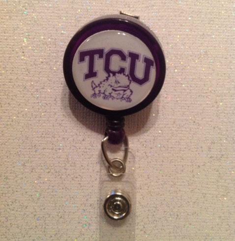 Ncaa Tcu College Badge Reel Id Holder purple alligator clip handmade new