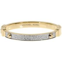 NWT MICHAEL KORS Gold-Tone Crystal Pave Astor Stud Bangle Bracelet MKJ19... - $75.00