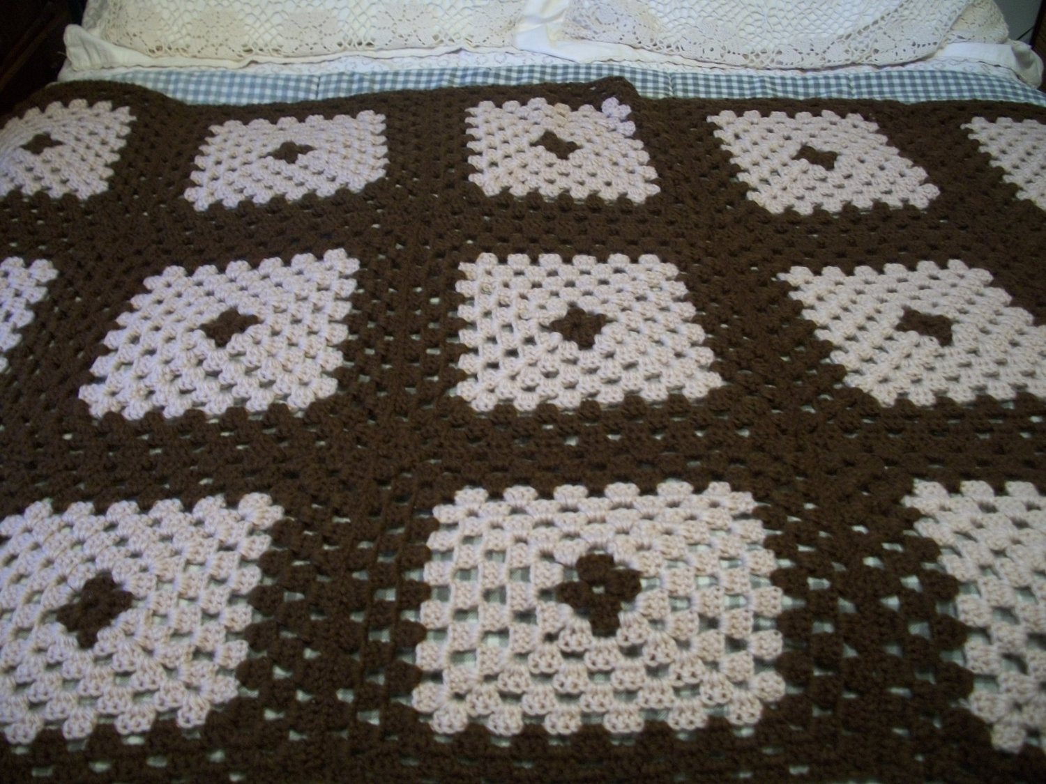 Primary image for Brown with Tan Crochet Afghan