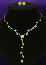 Bridal Wedding Green Flower Rhinestone Necklace Earrings Set Bridesmaid - $29.99