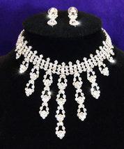 Wedding Austrian Crystal Rhinestone Necklace Earrings Set  - $30.99