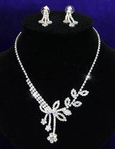 Wedding Flower Crystal Rhinestone Necklace Earrings Set  - $28.99