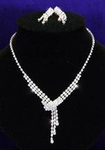 Bridal Wedding Dangling Crystal Rhinestone Necklace Earrings Set - $28.99