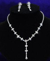 Bridal Wedding Dangling Crystal Necklace Earrings Set  - $29.99