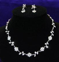 Wedding Bridal Crystal Flowers Necklace Earrings Set  - $29.99