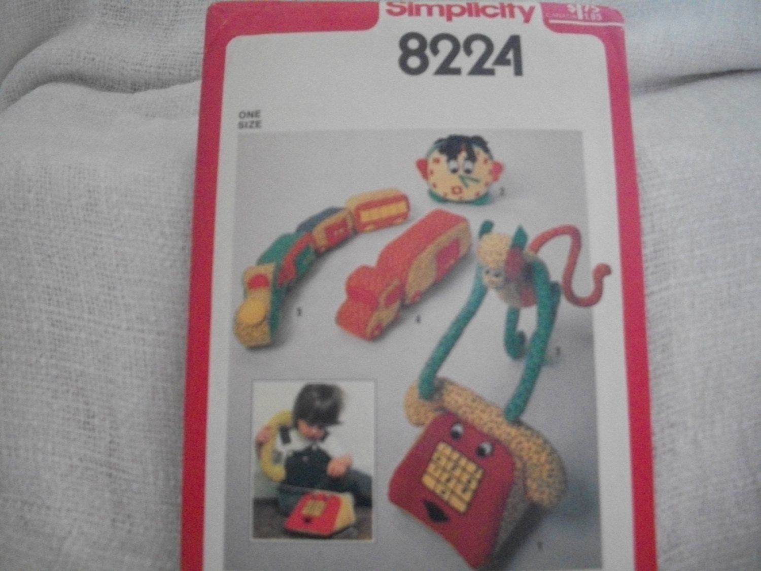 Primary image for Baby Toy Pattern Simplicity 8224 Telephone, Clock, Monkey, Truck, Train
