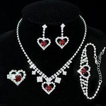 Wedding Dark Red Crystal Heart Necklace Bracelet Ring Earrings Set  - $32.99