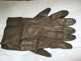 Vintage Brown leather over the wrist soft gloves size 7  unlined  - $24.74