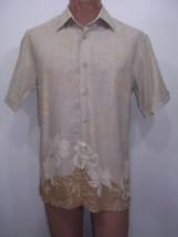 Cubavera Tan Floral Linen Hawaiian Short-Sleeve Shirt Mens S - $31.85