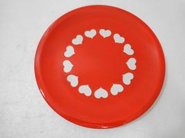 "Waechtersbach Heart Dinner Plate 10"" White Hearts on Red Plate Earthenware - $39.98"
