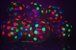50 Pack Clear Latex 11 inch UV Blacklight Reactive Neon Polka Dot Balloons - $23.95