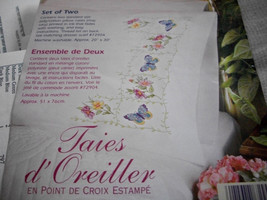 Butterflies & Flowers Stamped Cross Stitch Pillow Cases - $15.00