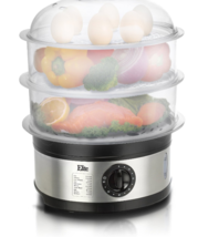 New Cooking Triple Tiered Food Stainless Steel Platinum Food Steamer 8.5... - $75.99