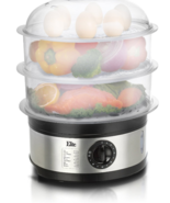 New Cooking Triple Tiered Food Stainless Steel Platinum Food Steamer 8.5... - £54.69 GBP