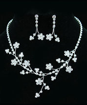 Wedding Crystal Flowers Necklace Earrings Set Bridesmaid - $25.99