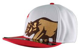 Dissizit! Side Bear White Red Brim Snapback Cap Hat California Star Flag image 2