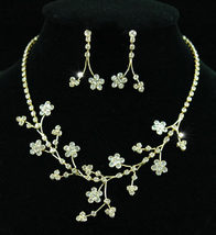 Wedding Crystal Gold Flowers Necklace Earrings Set Bridesmaid - $25.99