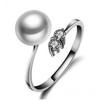 Freshwater Pearl Diamond Alternatives Bypass Ring White 14k Gold over 92... - $24.99