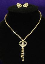 Wedding Heart Crystal Gold Rhinestone Necklace Earrings Set Bridesmaid - $29.99