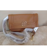 TORY BURCH AMANDA Fold Over Messenger Bag NWT Royal Tan Leather $435 - $218.39