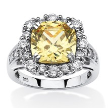 PalmBeach Jewelry 3.62 TCW Canary CZ Halo Ring Platinum over .925 Silver - $35.99