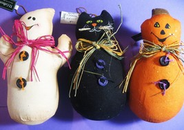 Set of 3 Halloween Cloth Figurine Decorations, Ghost, Black Cat, Jack-O-... - £10.06 GBP