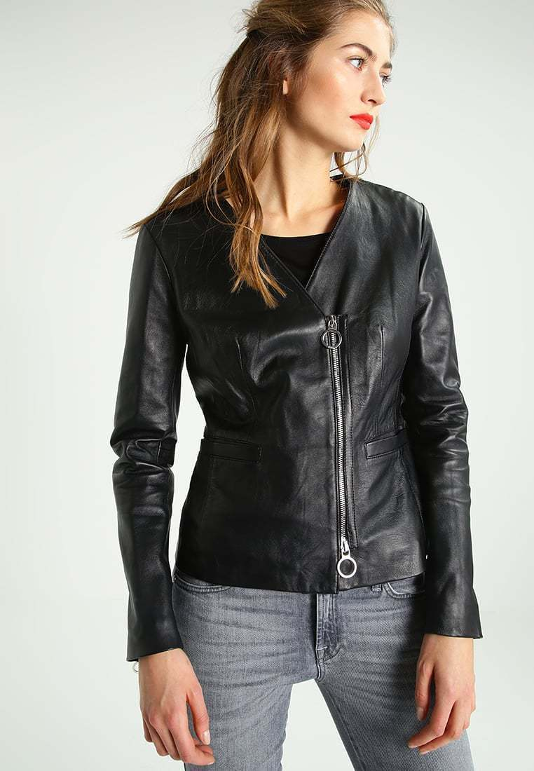 New Women's  Genuine Soft Lambskin Leather Fit Motorcycle  Biker Jacket -52