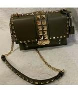 MK MICHAEL Michael Kors Cece Studded Leather Chain Shoulder Bag Olive MS... - $249.95