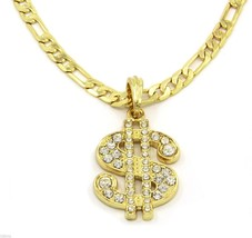 "Money Sign Charm Gold Plated Piece Pendant 24"" Figaro Chain Necklace Jew... - $14.84"