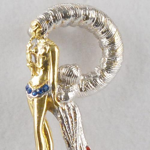ERTE R made of Gold-Plated Sterling Silver, with Hand-Set Swarovski Crystals!