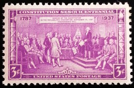 1937 3c Constitution Signing, 150th Anniversary Scott 798 Mint F/VF NH - $1.97
