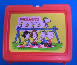PEANUTS plastic Thermos Brand lunchbox (red) no thermos - $14.84